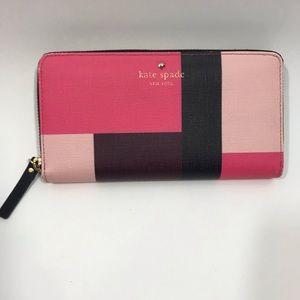 Kate Spade Pink Brown Black Wallet